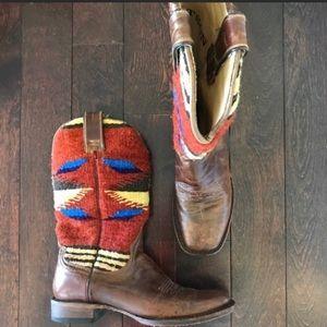 Stetson Roxanne Serape Western Leather Aztec Boots